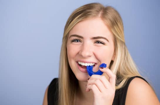 Girl with mouthguard